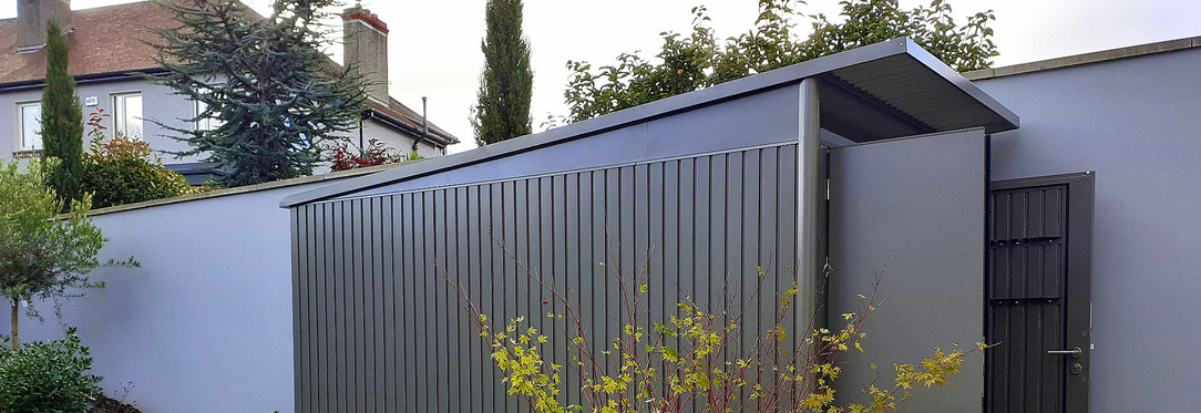 Biohort AvantGarde Steel Garden Shed - supplied + fitted in Dublin by Owen Chubb Landscapers
