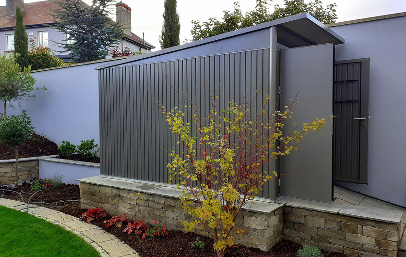 The AvantGarde Steel Garden Shed from Biohort installed in a Rathfarnham garden by Owen Chubb Garden Landscapers, Dublin