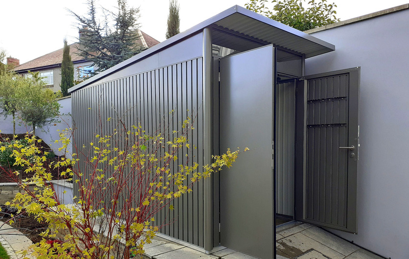 AvantGarde Steel Garden Shed installation in Rathfarnham, Dublin.