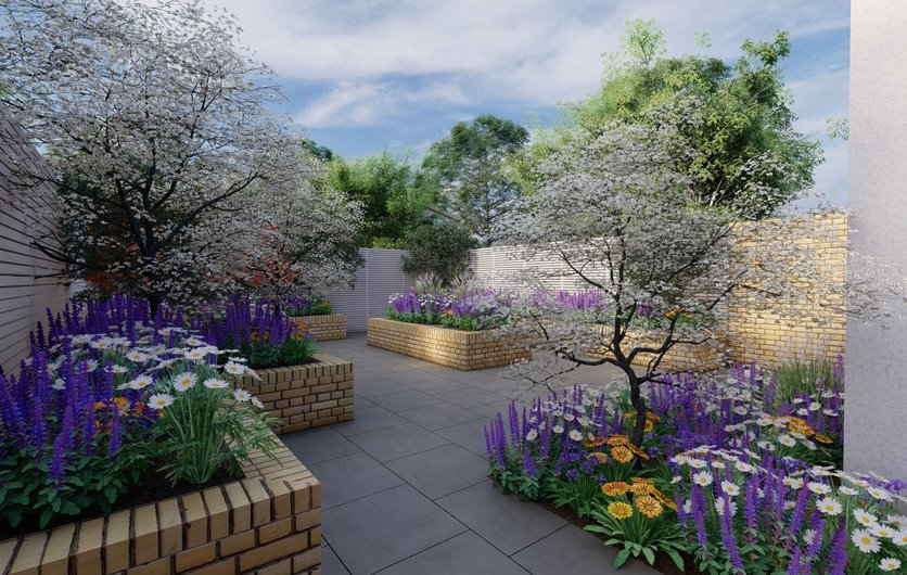 Garden Design features a series of raised beds with mixed planting including trees, shrubs and herbaceous plants for a garden in Harold's Cross, Dublin.