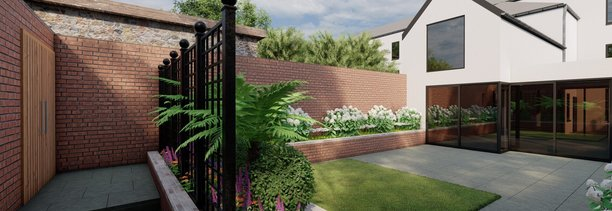 Garden Design for Clontarf garden showing Rasied Beds, Patio, Steel trellis screen, planting etc