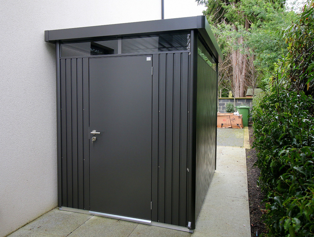 Biohort HighLine Shed - supplied + fitted in Foxrock, Dublin 18 by Owen Chubb Garden Landscapers - First for Biohort