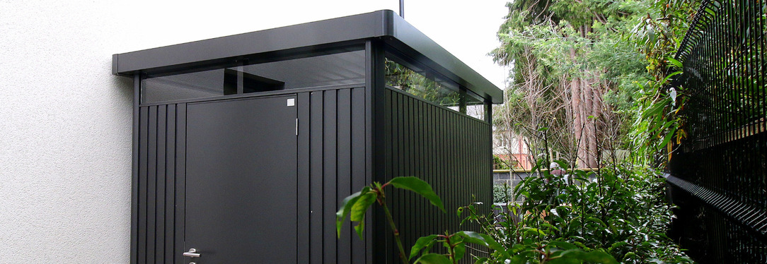 Biohort HighLine Steel Garden Shed installed in Foxrock, Dublin 18 | Supplied + Fitted by Owen Chubb Landscapers - First for Biohort