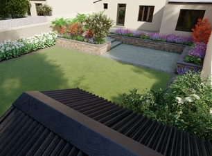 Family Garden Design | Templeogue | Raised Patios | Raised Planter Beds