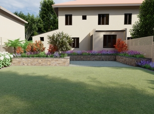 Family Garden Design featuring terraced Patios, Raised Beds, Custom Fencing | Dublin 6W