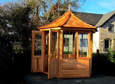2.4m six sided Timber Summerhouse, installed in Co Louth | Owen Chubb Landscapers, Tel 087-2306 128