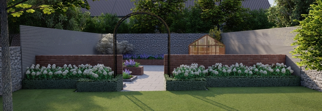 Family Garden Design Churchtown | Secluded space with sunny aspect, spacious patio, raised beds and timber greenhouse