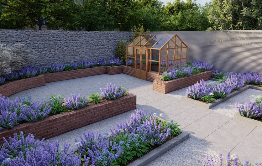 Garden Design Churchtown |growing beds for edibles, ornamentals & cut flowers with Gabriel Ash Classic Planthouse Family Garden in Dublin 14