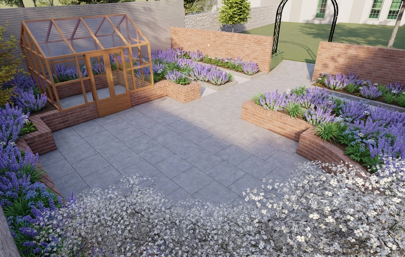 Garden Design Churchtown | a multi-purpose layout with spacious patio, greenhouse, raised beds, custom made garden fencing in Dublin 14