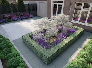 3D Design Visual illustrating a feature bed planted with clipped Buxus hedging, a central feature tree and mixed herbaceous flowering plants | Owen Chubb Garden Design, Tel 087-2306128