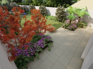 3D Design visual of a secluded patio area for a Terenure garden | Owen Chubb Garden Landscapers.