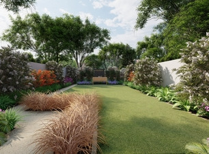 3D Design Visual illustrating a new garden layout with lush and colourful border planting areas | Owen Chubb Garden Design, Tel 087-2306128