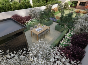 Terenure Garden Design illustates a new Patio with lush planting and Biohort Garden Shed