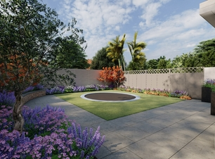 Design Rendering of proposed layout for a small Family garden in Terenure, Dublin 6W. Owen Chubb Garden Landscapers. Tel 087-2306128