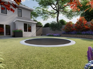 Design visual for a family garden in Terenure with a in-ground trampoline | Owen Chubb Garden Landscapers, Dublin 6W