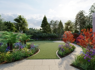 Design Visual for family garden in Foxrock, Dublin 18, featuring sweeping Limestone pathway, rol turf lawn area, Specimen trees and shrubs, & Limestone Patio