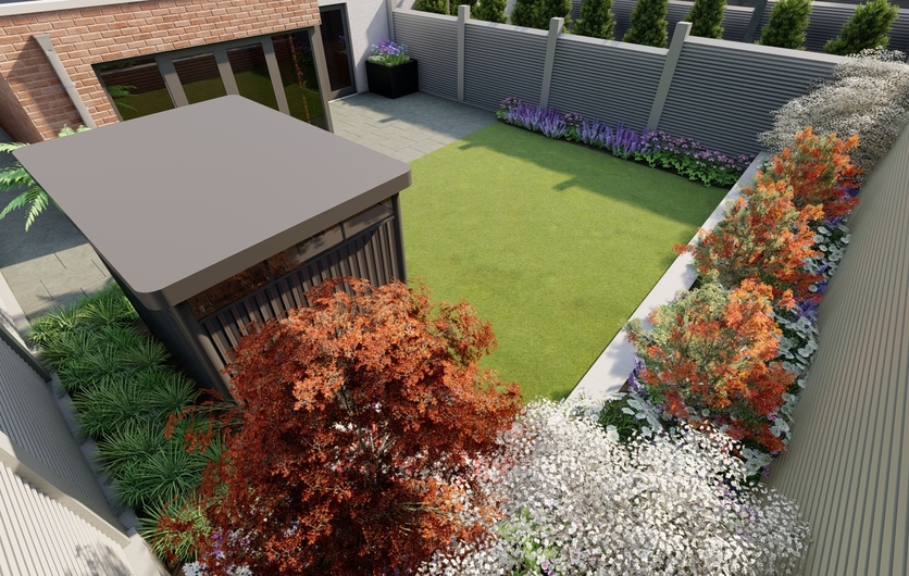 Design Visual for a small garden in Blackrock with Biohort Garden Shed, Biohort Belvedere Steel Planters, Bespoke Fencing, Raised Bed, Limestone paving | Owen Chubb Garden Design