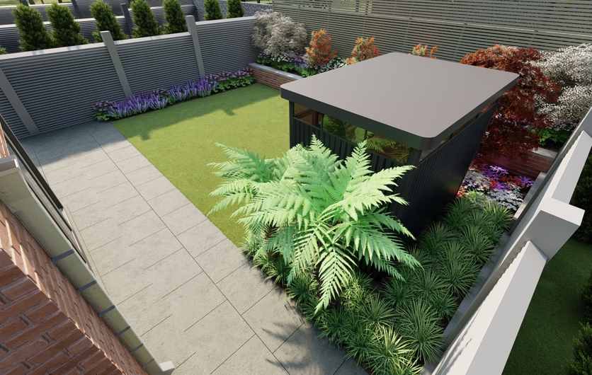 Design Ideas for small family garden in Blackrock featuring Biohort HighLine Garden Shed, Biohort Planters, synthetic lawn and bespoke fencing | Owen Chubb Garden Design