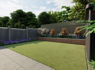 Design Visual for small family garden in Blackrock, Co Dublin featuring Biohort HighLine Shed, Bespoke Garden Fencing, sweeping Limestone pathway, synthetic grass area, Specimen trees and Limestone Patio