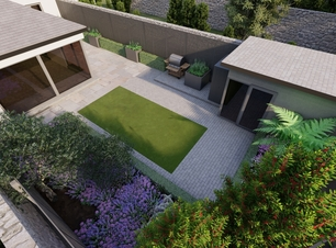 Design Visual for Terenure garden with outdoor BBQ and entertaining area, featuring bespoke fencing, specimen trees and lush planting.