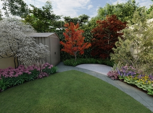 Design Visual for small garden featuring Biohort Shed, Bespoke Garden Fencing, sweeping Limestone pathway, roll turf grass area, Specimen trees and Limestone Patio