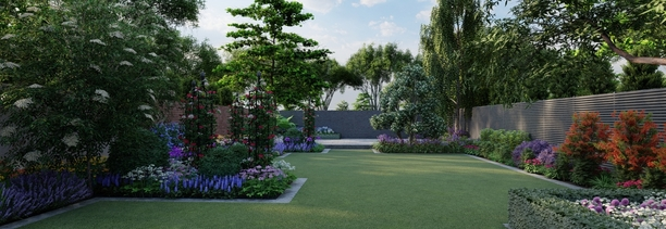 Garden Design Dublin 14 | 3D Design Visuals for large Family Garden in Rathfarnham