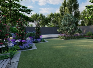 Garden Design Visual for a large Family Gardenin Rathfarnham with raised patio, rose obelisk,  bespoke fencing and extensive mixed planting borders