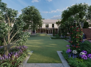 Garden Design Visual for a large Family Gardenin Rathfarnham with raised patio bespoke fencing and extensive mixed planting borders
