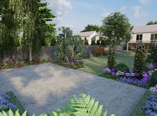 Garden Design Visual for a large Family Gardenin Rathfarnham with raised patio, bespoke fencing and extensive mixed planting borders