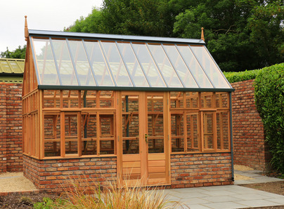 RHS Wisley Planthouse on dwarf wall - traditional Victorian timber Greenhouse