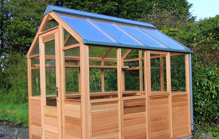 Classic Six Timber Greenhouse with cedar base panels