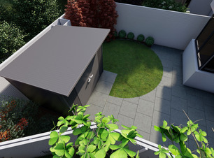 Graphic drawing of low maintenance contemporary style garden design in Rathgar, Dublin 6.