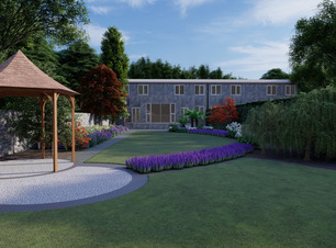 Graphic drawing of low maintenance contemporary style garden design Dublin